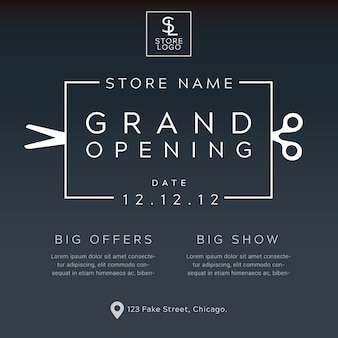 Grand opening minimalist poster vector