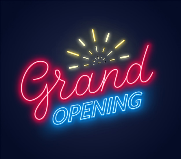 Grand opening neon sign on dark background. poster,banner for the opening ceremony.