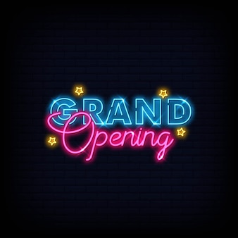 Grand opening neon sign text vector