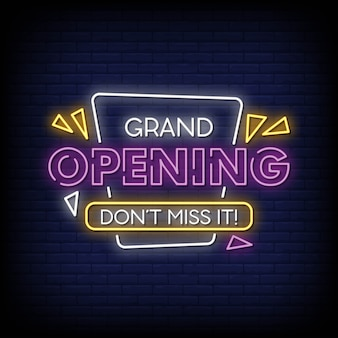 Grand opening neon signs style text vector