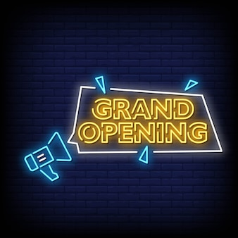 Grand opening neon signs style text