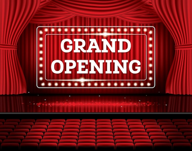 Grand opening. open red curtains with neon lights. vector illustration. theater, opera or cinema scene.