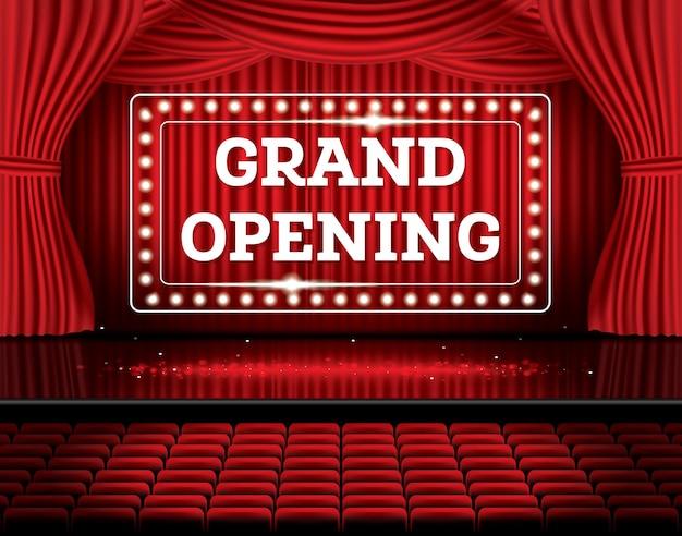グランドオープン。ネオンライトで赤いカーテンを開きます。ベクトルイラスト。劇場、オペラ、映画のシーン。