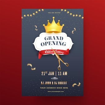 Grand opening party flyer design with ribbon cutting and crown