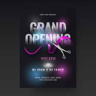 Grand opening party flyer design with scissors cutting ribbon
