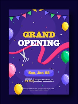 Grand opening party flyer or template design with event details