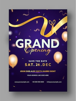Grand opening party invitation template layout with golden ribbon and scissors illustration
