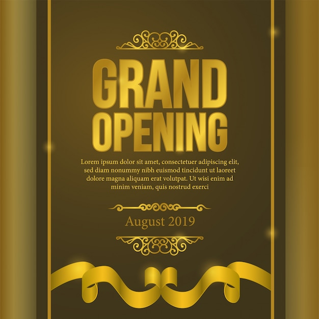 Grand opening poster event with gold ribbon
