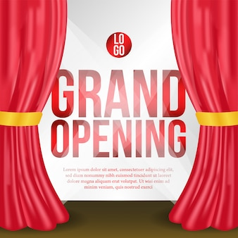 Grand opening poster event with red curtain on the stage