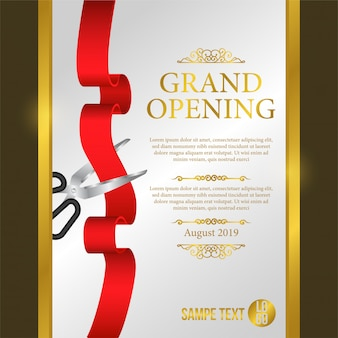 Grand opening poster event with red ribbon cutting
