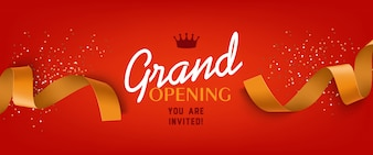 Grand opening red banner with gold ribbon, crown