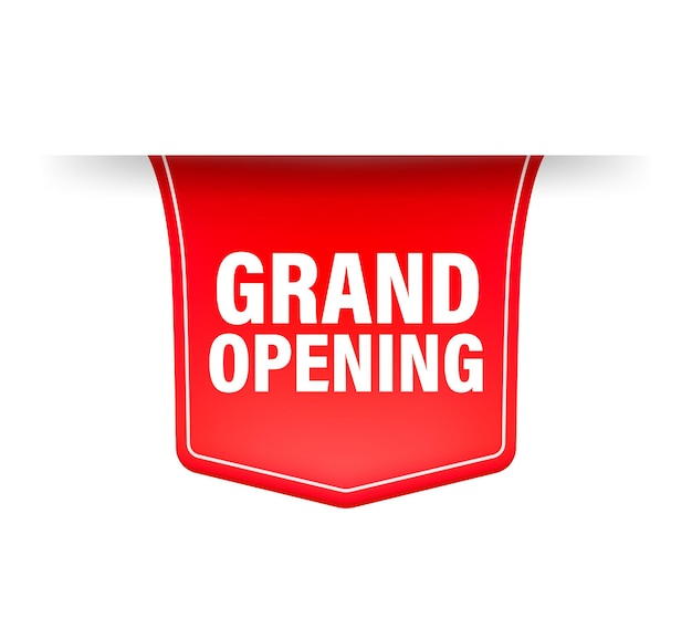 Grand opening red ribbon in 3d style