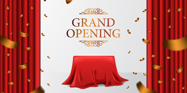 Grand opening royal elegant surprise with satin fabric cloth curtain and cover box and golden confetti with white background