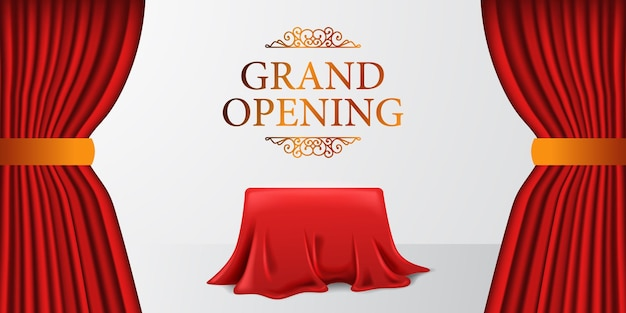 Grand opening royal elegant surprise with satin fabric cloth curtain and cover box with white background