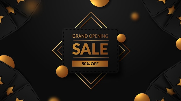 Grand opening sale with golden text