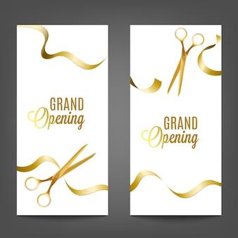 グランドオープンはさみ、白い背景のリアルなイラストで黄色のゴールデンリボンカットセット。広告バナーテンプレート。