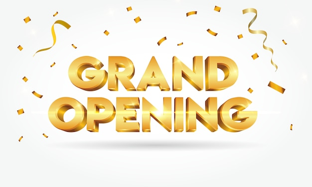 Grand opening shinny gold text with confetti isolated on white background