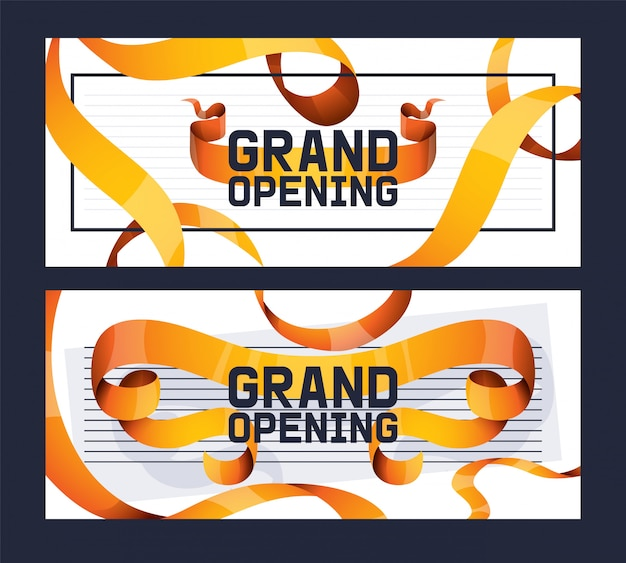 Grand opening of shop, store advertisement set ofs.