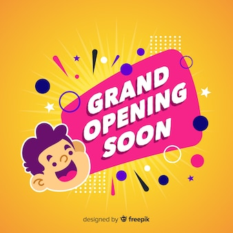 Grand opening soon in flat design