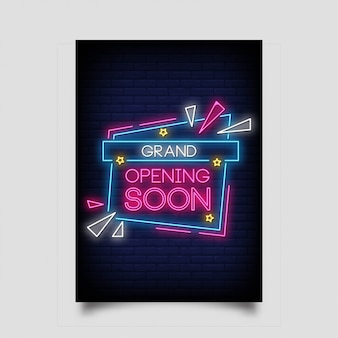 Grand opening soon, in neon style. grand opening soon neon signs