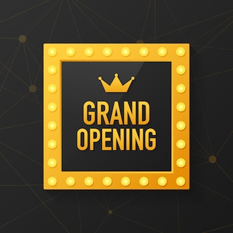 Grand opening sparkling banner. template design element with golden sign for new store opening ceremony.