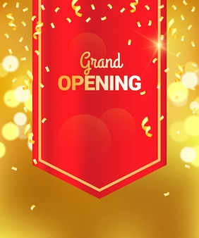 Grand opening sparkling banner with red curtain