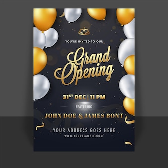 Grand opening template or flyer design decorated with glossy balloons