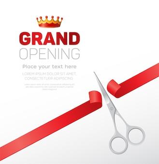 Шаблон торжественного открытия - современная векторная иллюстрация с местом для вашего текста. серебряные ножницы перерезают красную ленту. заголовок с короной. прекрасно подойдет в качестве сертификата, плаката, баннера, открытки, приглашения.