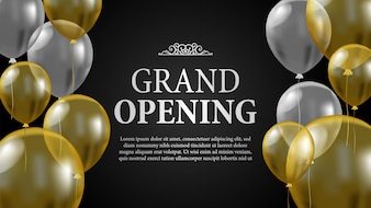 Grand opening template with gold and silver balloon
