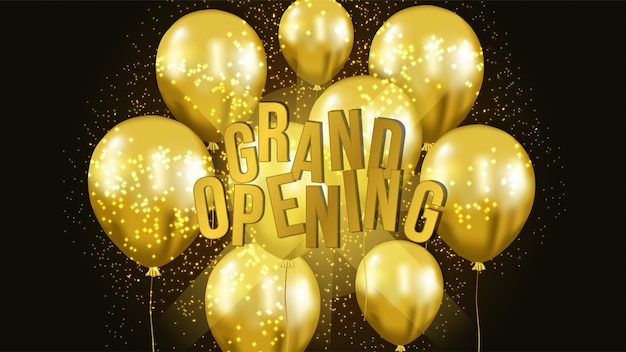 Grand opening template with gold balloon