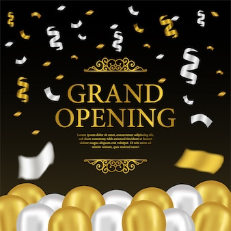 Grand opening template with gold and silver balloons