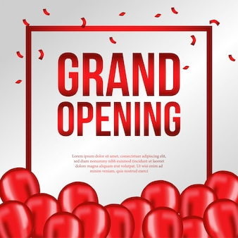 Grand opening template with red balloons