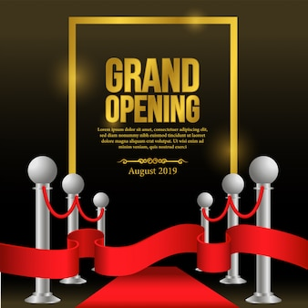 Grand opening template with red carpet and red ribbon