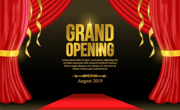 Grand opening template with red curtain and carpet
