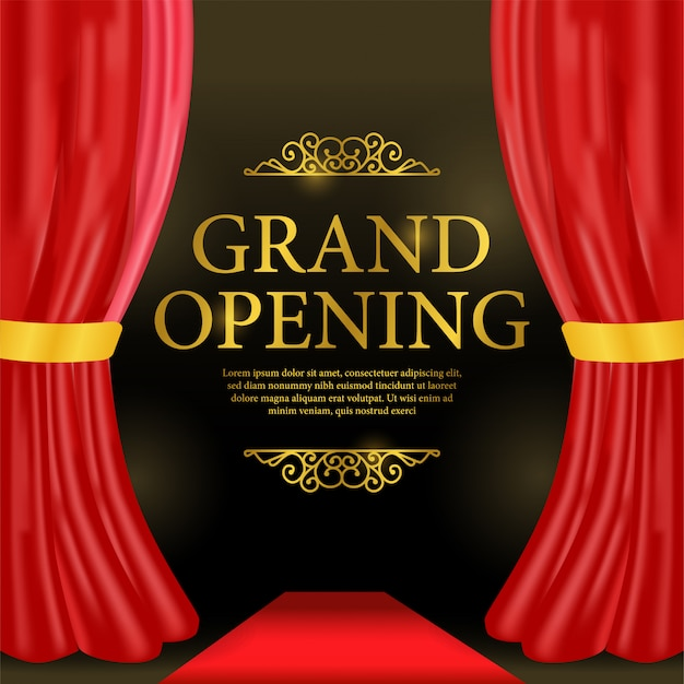 Grand opening template with red curtain and red carpet