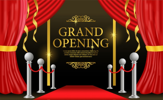Grand opening template with red curtain on stage