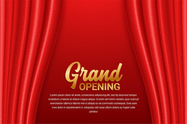 Grand opening template with red curtain