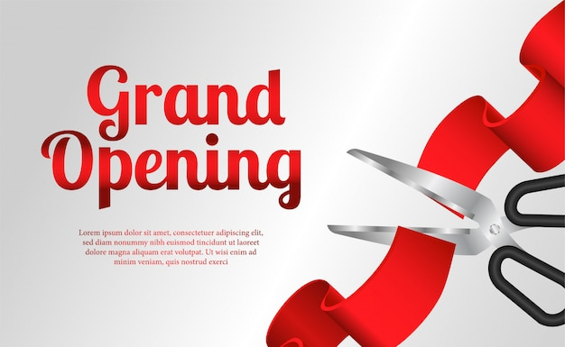 Grand opening template with red ribbon cutting