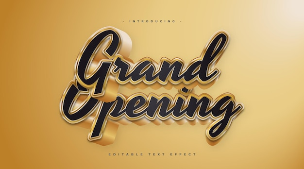 Grand opening text in black and gold style with 3d effect