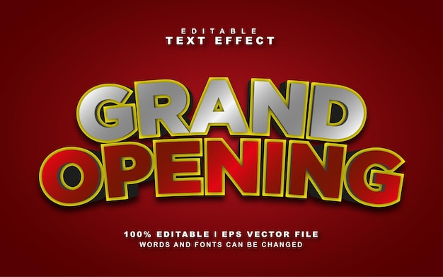 Grand opening text effect free vector