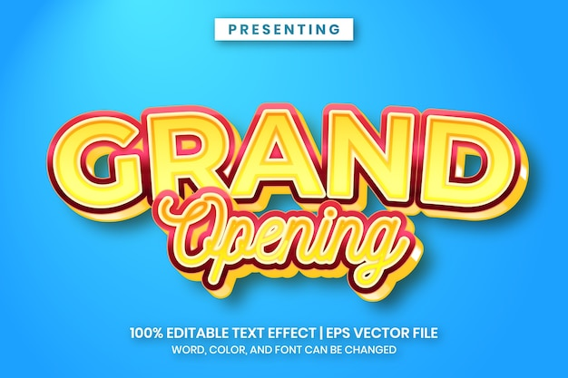 Grand opening text effect with luxury look