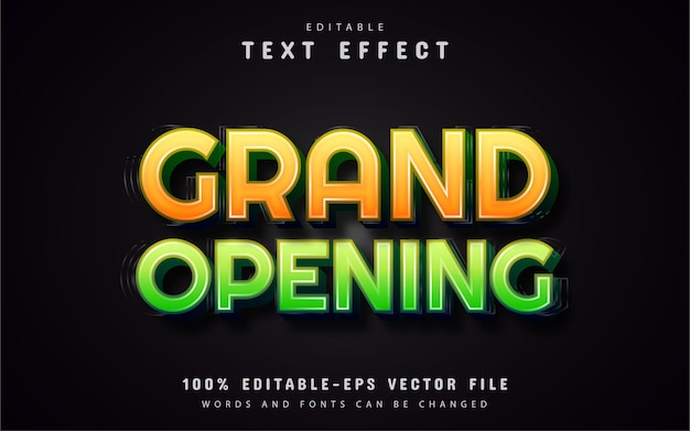 Grand opening text effects