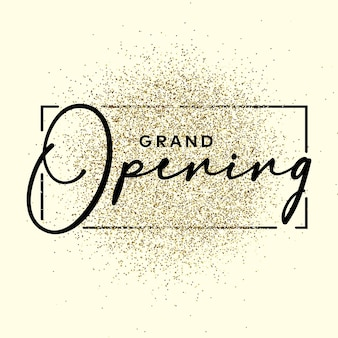 Grand opening text on the gliiter gold texture. design element. for business, marketing and advertising. vector on isolated background. eps 10.