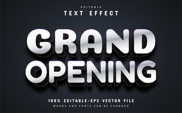 Grand opening text, white 3d text effect
