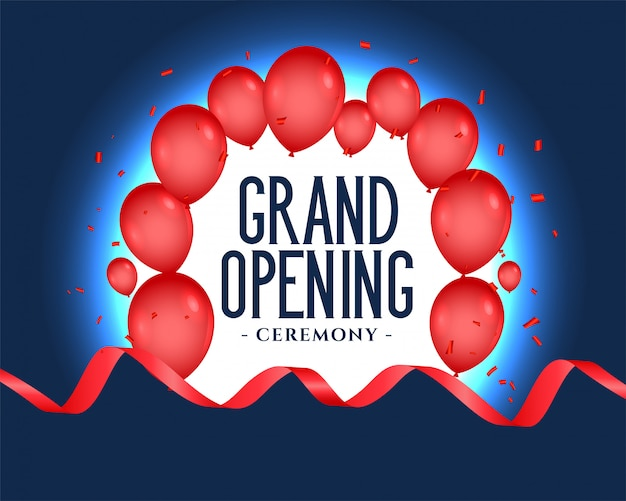 Grand opening text with balloons decoration