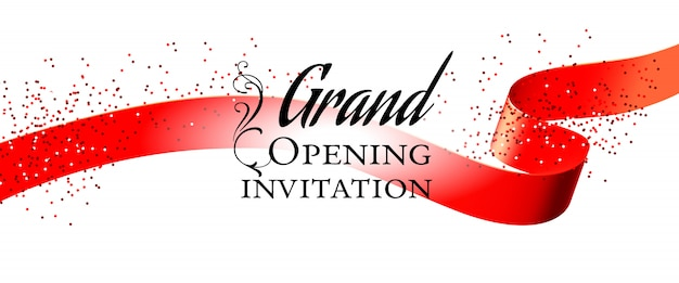 Grand opening white invitation card