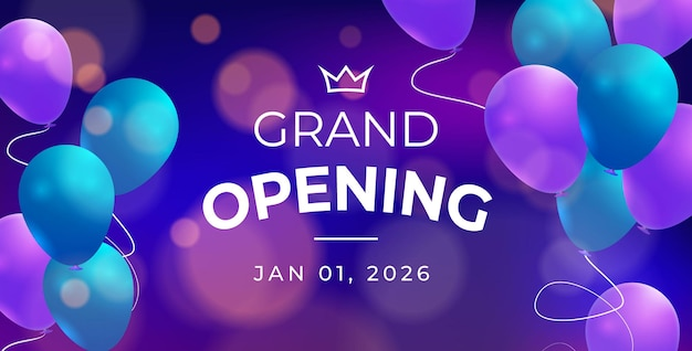 Grand opening with bokeh effect and balloons