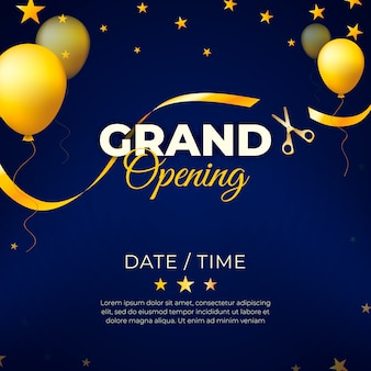 Grand opening with golden balloons