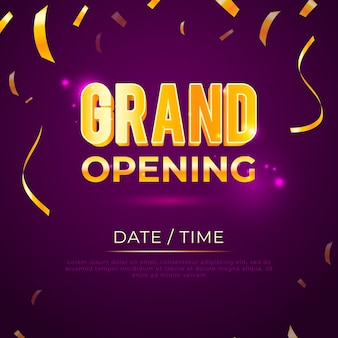 Grand opening with golden confetti