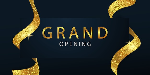 Grand opening with golden ribbon background  and glitters